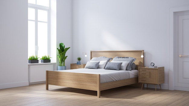 Moderne scandinavische interieur van de slaapkamer