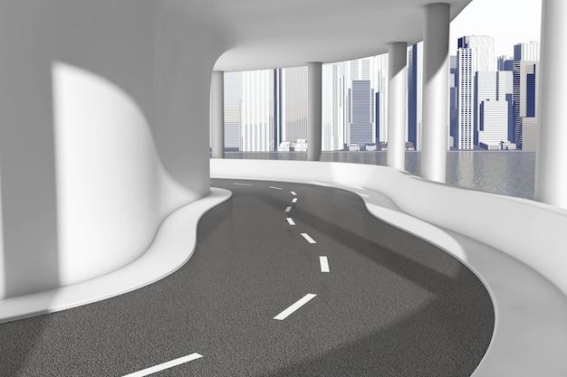 Moderne sea bridge highway road extreme close-up. 3d-rendering
