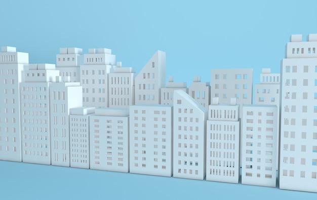Moderne skyline van de stad gebouw industrieel papier kunst landschap wolkenkrabber kantoren rendering