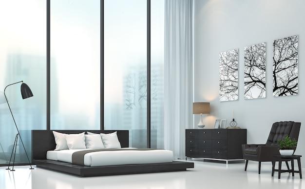 Moderne slaapkamer 3d render er zijn grote ramen die uitkijken om de achtergrond van de stad in de mist te zien