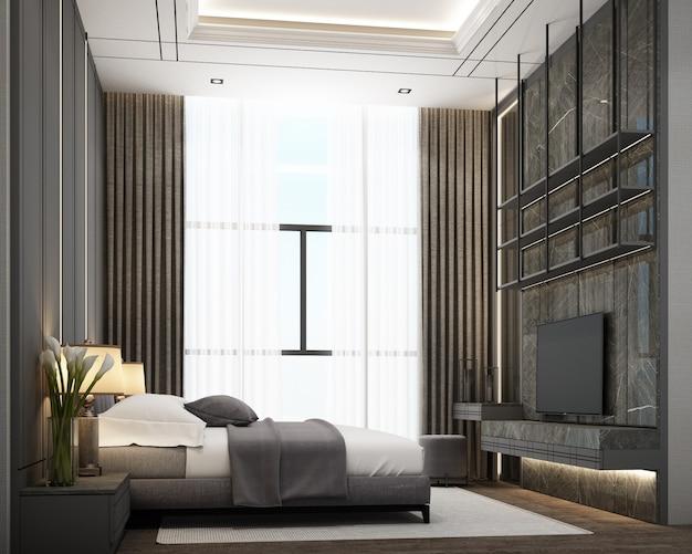 Moderne slaapkamer in luxe stijl met houten en marmeren decoratie in grijstinten