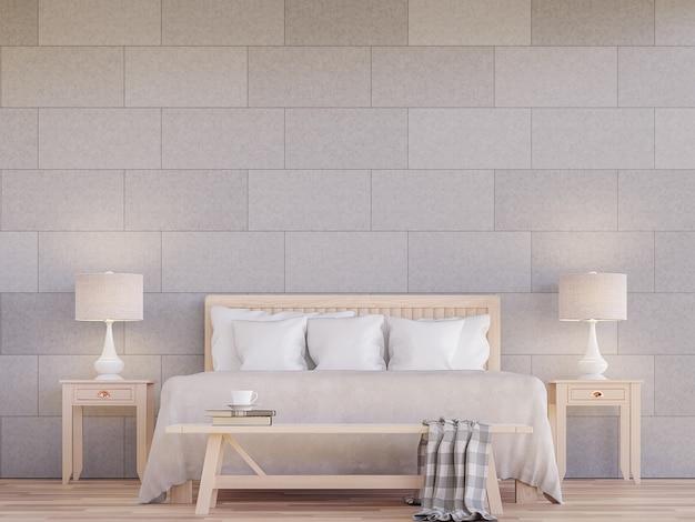 Moderne slaapkamer interieur 3d render versier muur met betonnen tegel in het patroon van baksteen