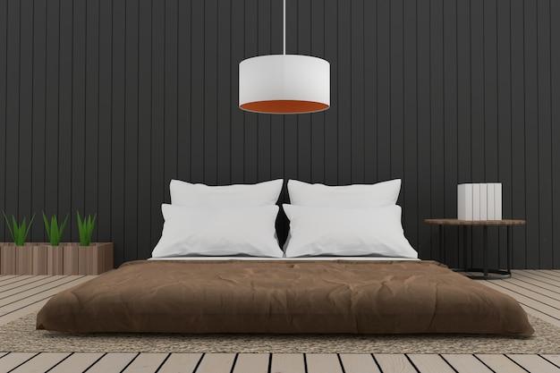 Moderne slaapkamer interieur loft in 3d render
