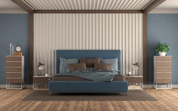 Moderne slaapkamer met blauw tweepersoonsbed tegen gipspaneel, nachtkastje en commode - 3d-rendering