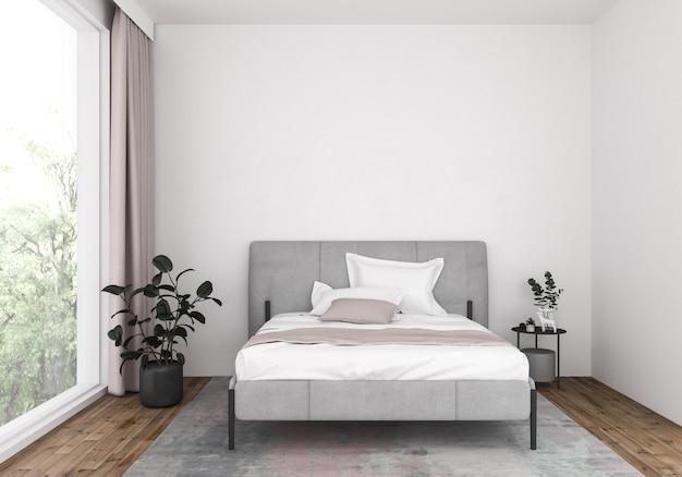 Moderne slaapkamer met blinde muur, kunstwerkachtergrond.