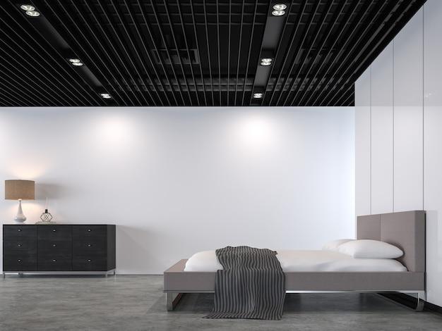 Moderne slaapkamer op de vliering met zwart stalen plafond 3d render