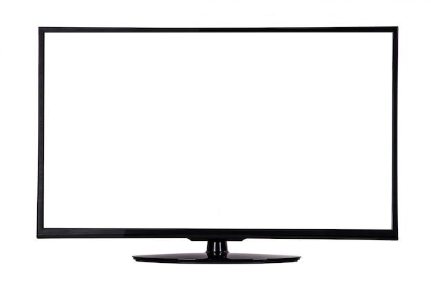 Moderne slanke plasma-tv op een zwarte standaard op wit wordt geïsoleerd