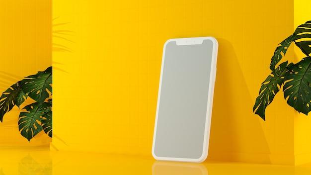 Moderne smartphone in een grijs scherm op een gele muur
