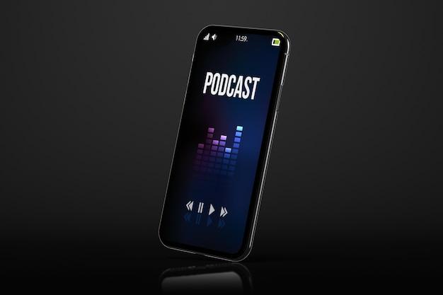Moderne smartphone op zwarte achtergrond met het 3d teruggeven van het podcastscherm