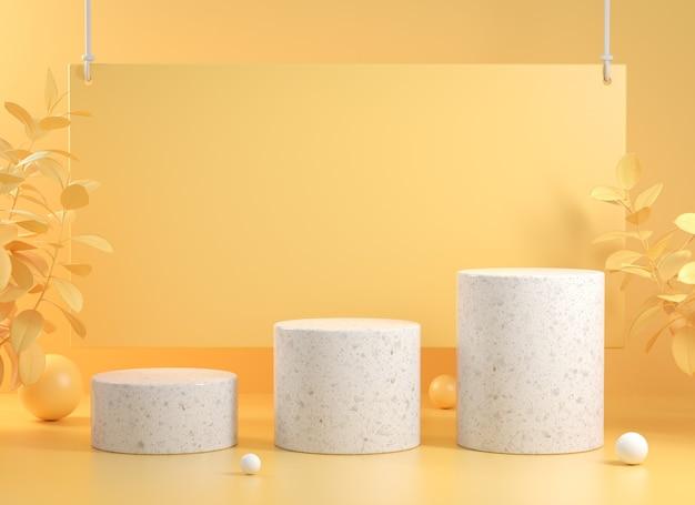 Moderne stapweergave met achtergrond en plant op gele abstracte achtergrond 3d render