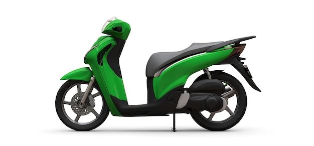Moderne stedelijke groene bromfiets op een witte achtergrond. 3d illustratie.