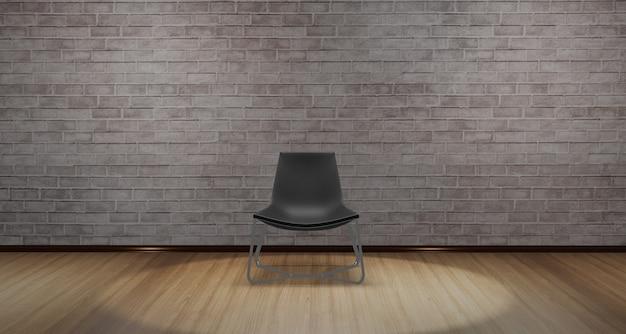Moderne stoel geplaatst in het midden van de kamer met licht van bovenaf