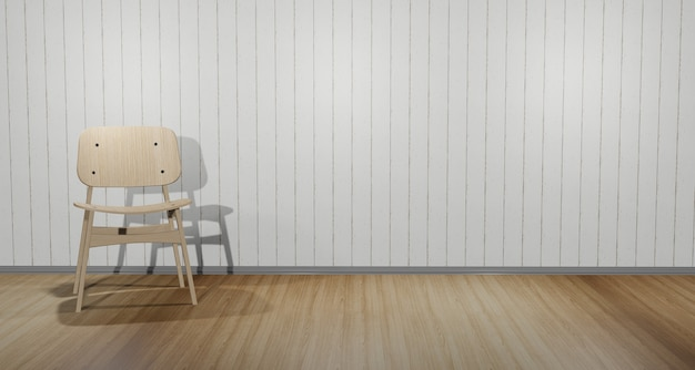 Moderne stoelen in de hoek van de kamer. binnen de witte houten muurscène bruine houten vloer 3d illustratie
