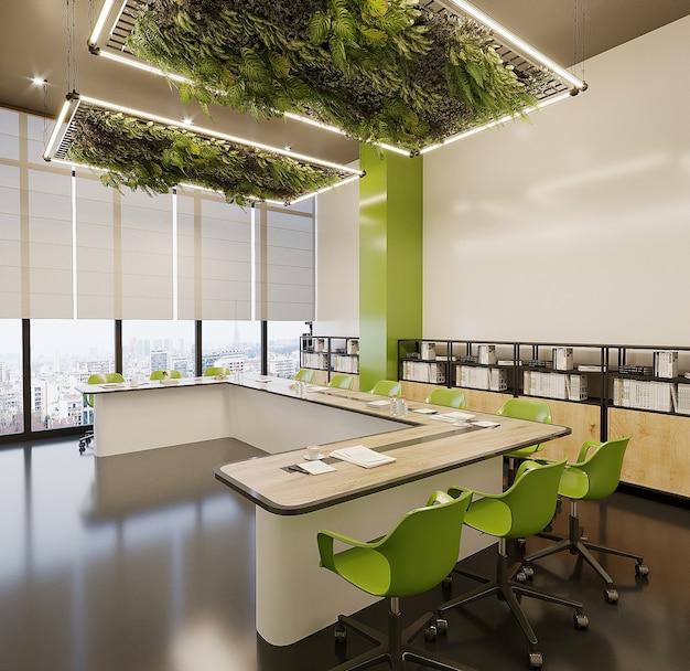 Moderne studeerkamer met bureau en groene stoelen, gratis