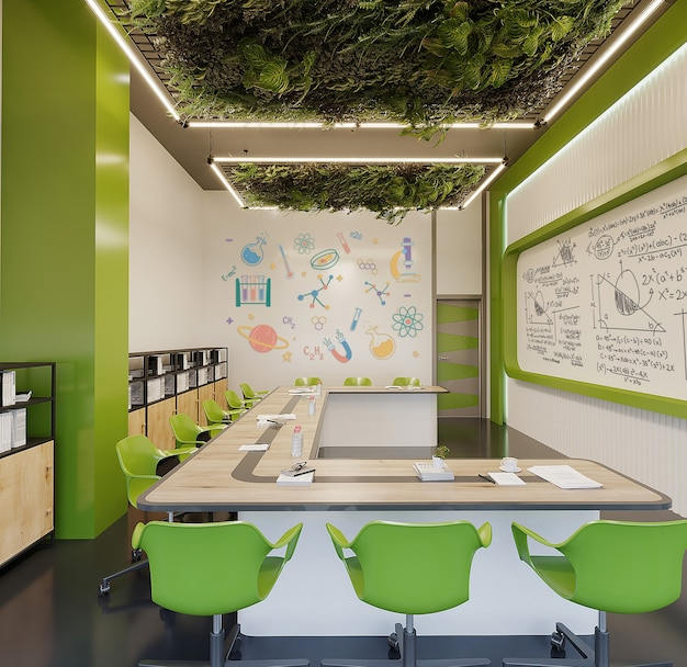 Moderne studeerkamer met bureau, groene stoelen en groene muur vrij