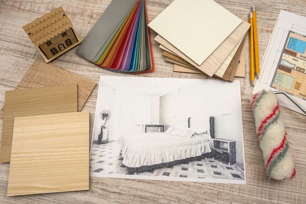 Moderne tekening potloodschets van een kamer interieur projecten concept