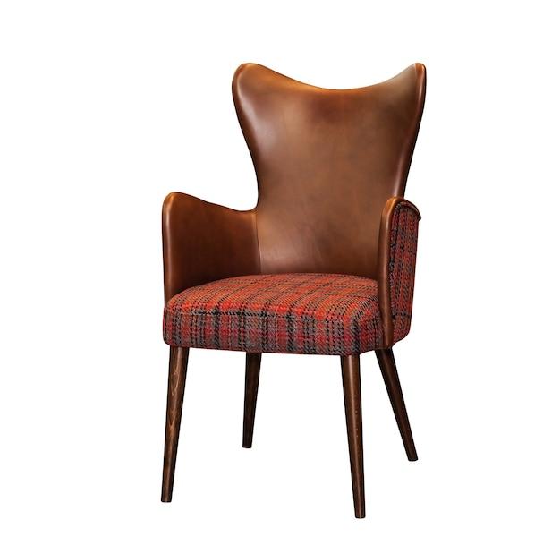 Moderne textiel rode stoel met de bruine rug van de leerstoel die op witte achtergrond wordt geïsoleerd