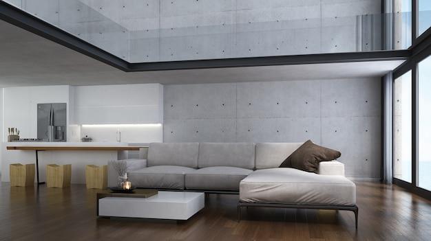 Moderne tropische woonkamer interieur en witte betonnen muur en uitzicht op zee