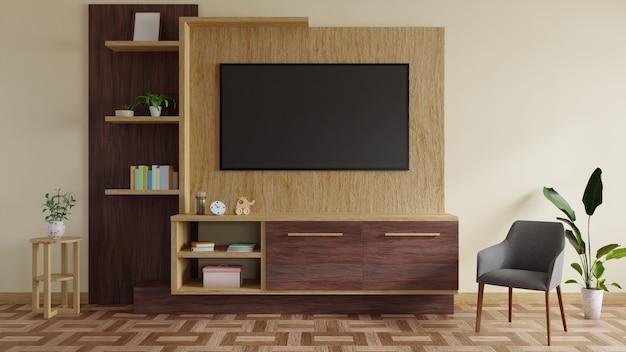 Moderne tv-kamer ingericht met een tv-tafel en prachtige planten. 3d-weergave.