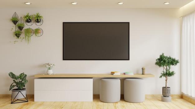 Moderne tv-kamer is ingericht met planten en banken. het heeft een grote tv op een mooie witte muur. 3d-weergave.