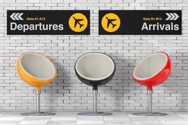 Moderne veelkleurige balstoelen in de buurt van het informatiepaneel voor vertrek en aankomst van de luchthaven voor bakstenen muur. 3d-rendering