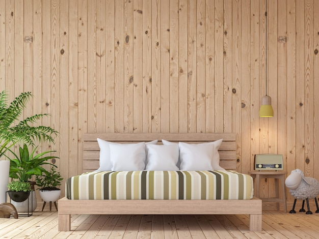 Moderne vintage slaapkamer interieur 3d renderer zijn houten vloer en muur ingericht met houten bed