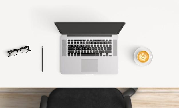 Moderne werkplaats met laptop exemplaarruimte op witte lijstachtergrond.