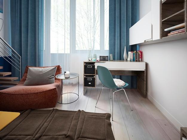 Moderne werkruimte met een bureau in een tienerkamer met planken aan de muur bij het raam.