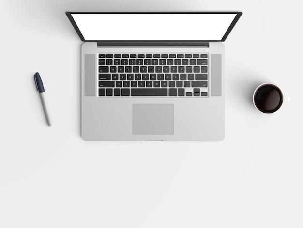 Moderne werkruimte met laptop of laptop kopie ruimte op kleur achtergrond.