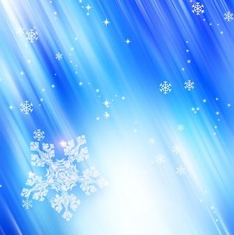 Moderne winterblauwe achtergrond met witte sneeuwvlokken