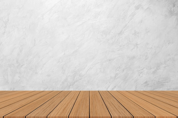 Moderne witte marmeren textuurachtergrond met houten vloer voor show, bevordering, advertentiesbanner op vertoning