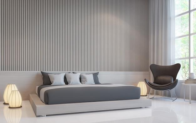 Moderne witte slaapkamer interieur 3d renderer is een lege witte muur met lat in verticaal patroon