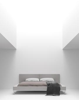 Moderne witte slaapkamer interieur minimalistische stijl 3d render natuurlijk licht schijnt van bovenaf