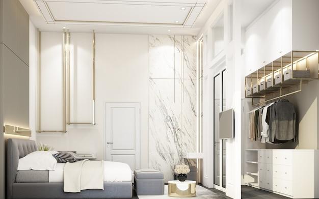 Moderne witte slaapkamer met meubilair in huis in de stad het 3d teruggeven