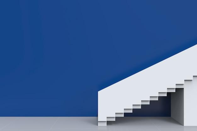 Moderne witte trap met blauwe kopie ruimte muur achtergrond.