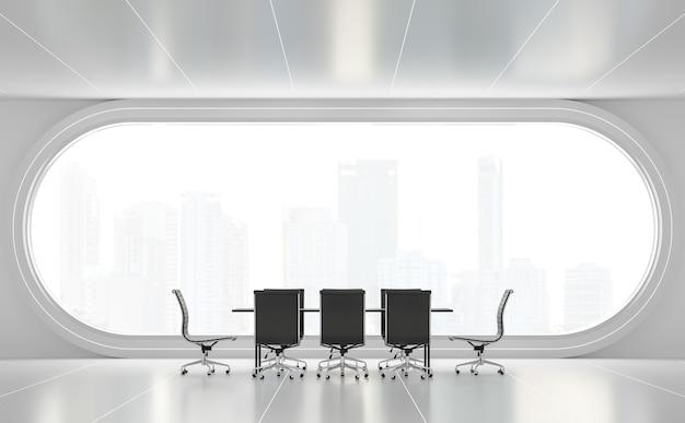 Moderne witte vergaderruimte 3d render er zijn boogramen die uitkijken om de achtergrond van het uitzicht op de stad te zien