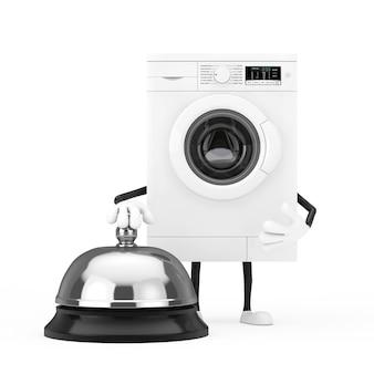 Moderne witte wasmachine karakter mascotte met hotel service bell oproep op een witte achtergrond. 3d-rendering