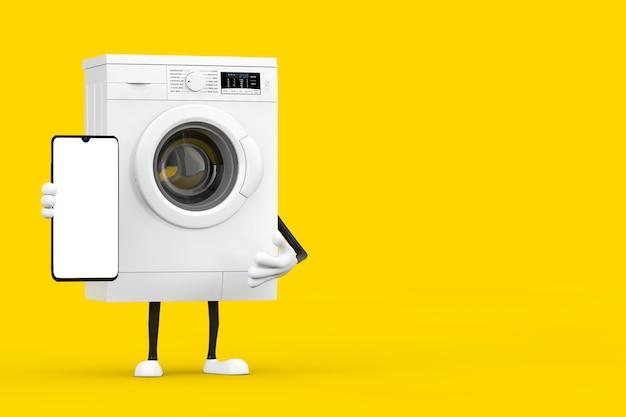 Moderne witte wasmachine karakter mascotte met moderne mobiele telefoon en leeg scherm voor uw ontwerp op een gele achtergrond. 3d-rendering