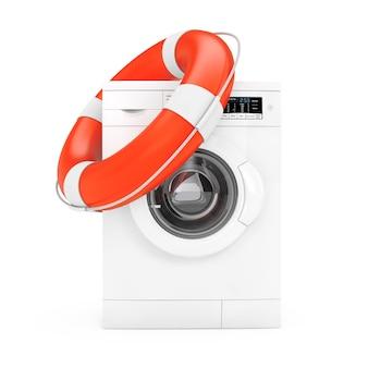 Moderne witte wasmachine met reddingsboei op een witte achtergrond. 3d-rendering