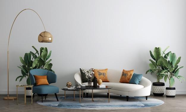 Moderne witte woonkamer interieur met decoratie en lege mock-up meubels, 3d-rendering, 3d illustratie