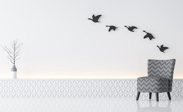 Moderne witte woonkamer interieur minimalistische stijl 3d render er zijn grijze fauteuil en witte muur