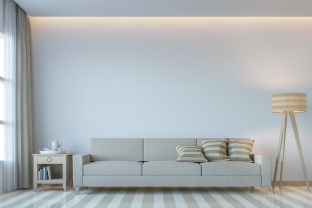 Moderne witte woonkamer minimalistische stijl 3d render versier kamer verborgen licht op plafond