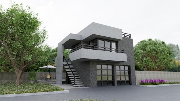 Moderne woning met tuin en garage. 3d-rendering.