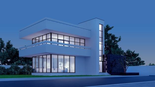 Moderne woning met wit pleisterwerk met een balkon en een hoge trap, in het koude avondlicht met warm licht van de ramen
