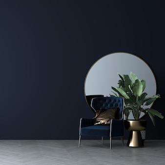 Moderne woonkamer binnenmuur mock-up in warme, neutrale, moderne, gezellige stijldecoratie op lege blauwe muurachtergrond