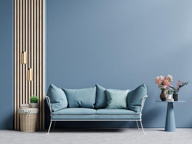 Moderne woonkamer donkerblauwe muur met blauwe bank en decor