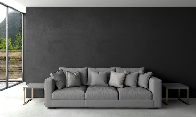 Moderne woonkamer en zwarte muur textuur achtergrond interieur design