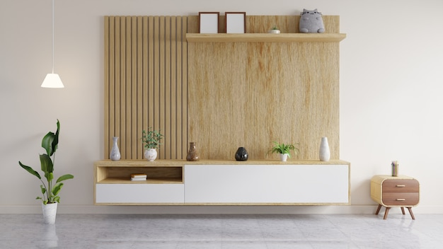 Moderne woonkamer heeft een houten wand om een tv op te hangen, een lamp en een pop en een vaas op de plank.