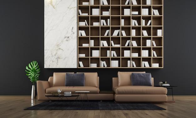 Moderne woonkamer interieur, bruine bank op lege drak betonnen wand, scandinavische stijl, 3d render