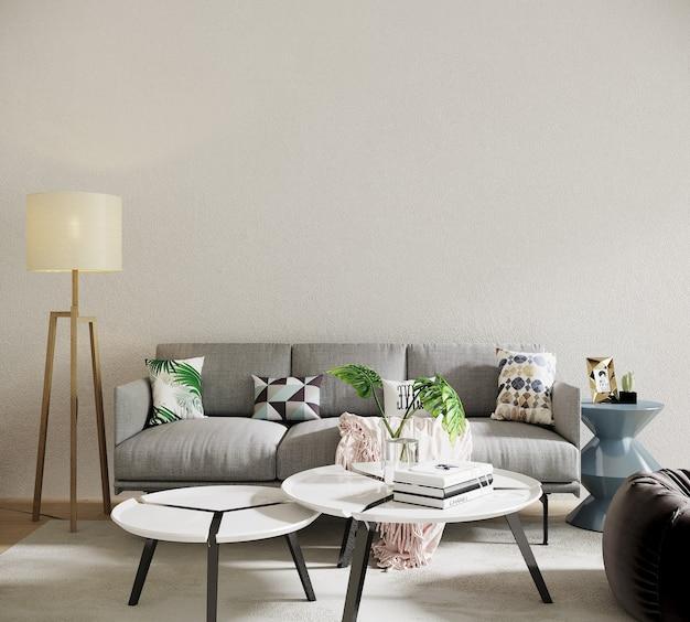 Moderne woonkamer interieur met sofa en kleurrijke kussens
